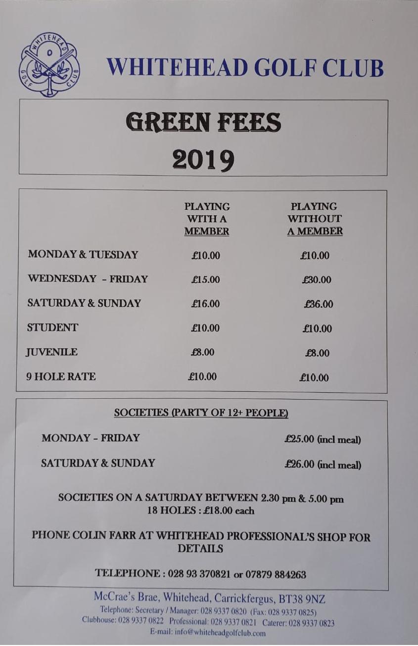 Green Fees 2019